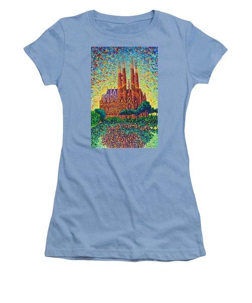 Sagrada Familia Barcelona Modern Impressionist Palette Knife Oil Painting By Ana Maria Edulescu Women's T-Shirt (Junior Cut) by Ana Maria Edulescu