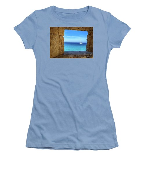 Sailboat Through The Old Stone Walls Of Rhodes, Greece Women's T-Shirt (Athletic Fit)