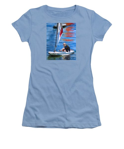 Women's T-Shirt (Junior Cut) featuring the painting Sailing On Lake Thunderbird by Joshua Martin