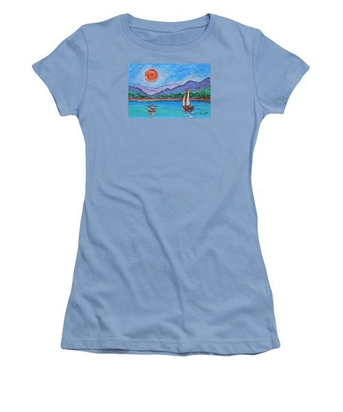 Women's T-Shirt (Athletic Fit) featuring the painting Sailing Red Sun by Xueling Zou