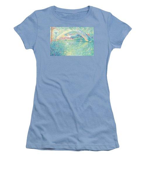 Women's T-Shirt (Junior Cut) featuring the painting San Antonio Riverwalk by Felipe Adan Lerma
