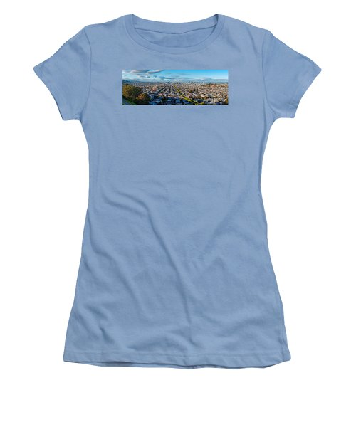 San Francisco Skyline From Bernal Heights Park At Sunset - San Francisco California Women's T-Shirt (Athletic Fit)