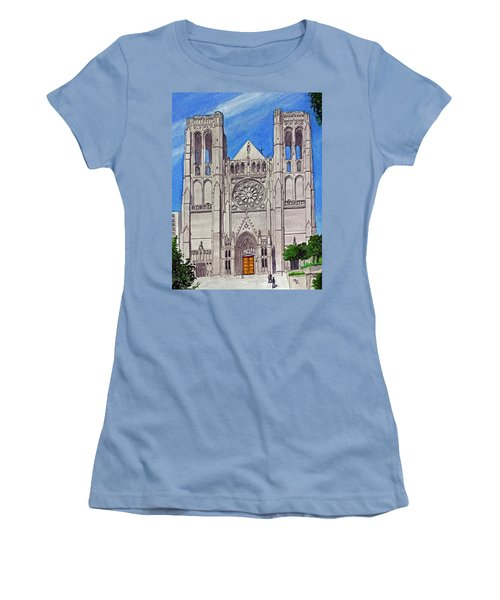 San Francisco's Grace Cathedral Women's T-Shirt (Junior Cut) by Mike Robles