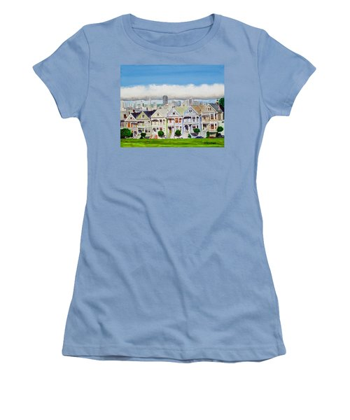 San Francisco's Painted Ladies Women's T-Shirt (Junior Cut) by Mike Robles