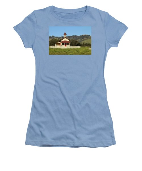 Women's T-Shirt (Junior Cut) featuring the photograph San Simeon - Castle And Schoolhouse by Art Block Collections