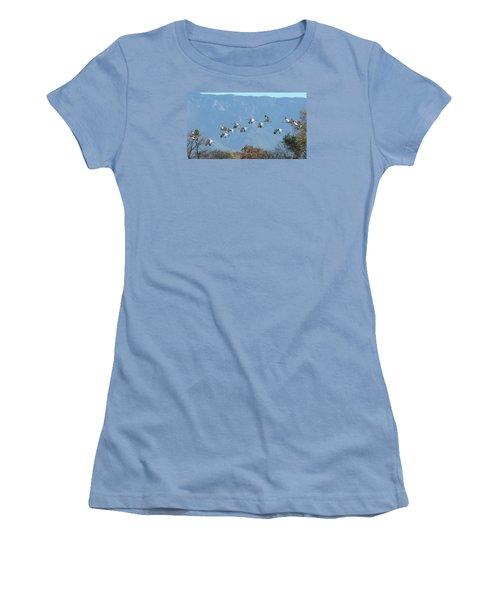 Sandhill Cranes In Flight Women's T-Shirt (Junior Cut) by Alan Toepfer