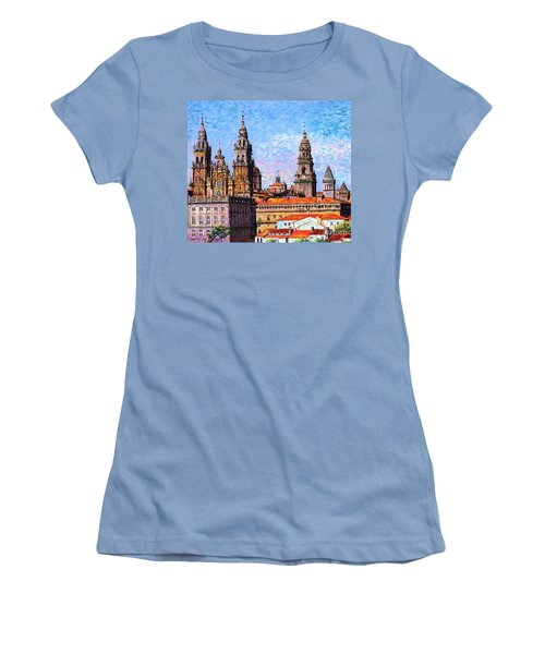Women's T-Shirt (Junior Cut) featuring the painting Santiago De Compostela, Cathedral, Spain by Jane Small