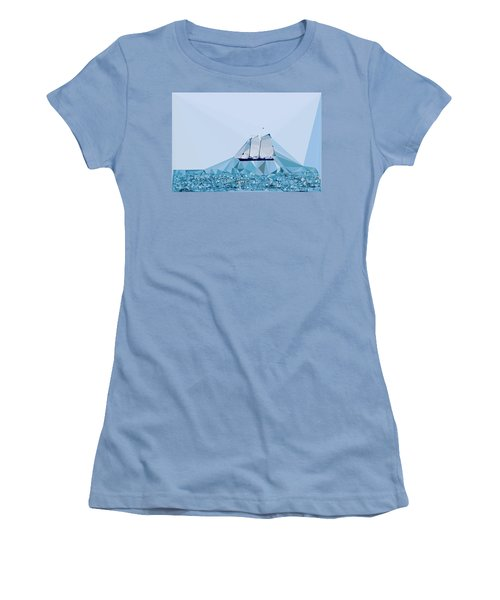 Schooner, Abstracted Women's T-Shirt (Junior Cut) by Sandy Taylor