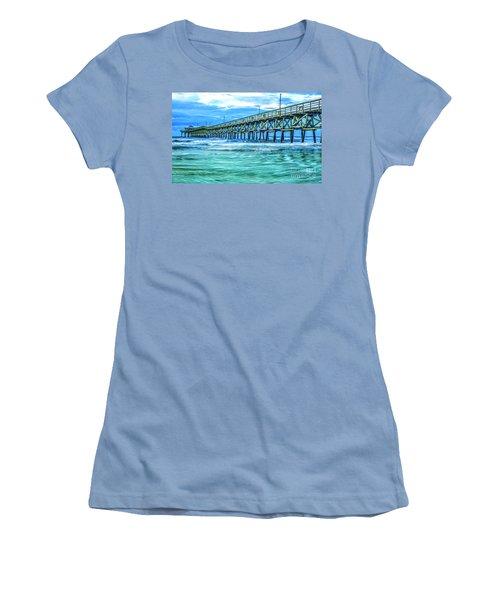 Sea Blue Cherry Grove Pier Women's T-Shirt (Athletic Fit)