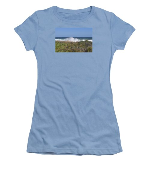 Women's T-Shirt (Junior Cut) featuring the photograph Sea Spray by Linda Ferreira