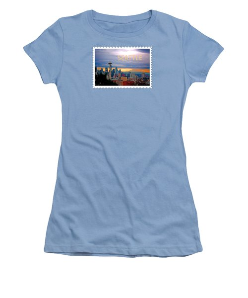 Seattle At Sunset Text Seattle Women's T-Shirt (Athletic Fit)