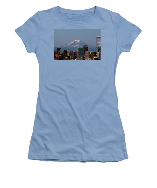 Women's T-Shirt (Junior Cut) featuring the photograph Seattle-mt. Rainier In The Morning Light.2 by E Faithe Lester