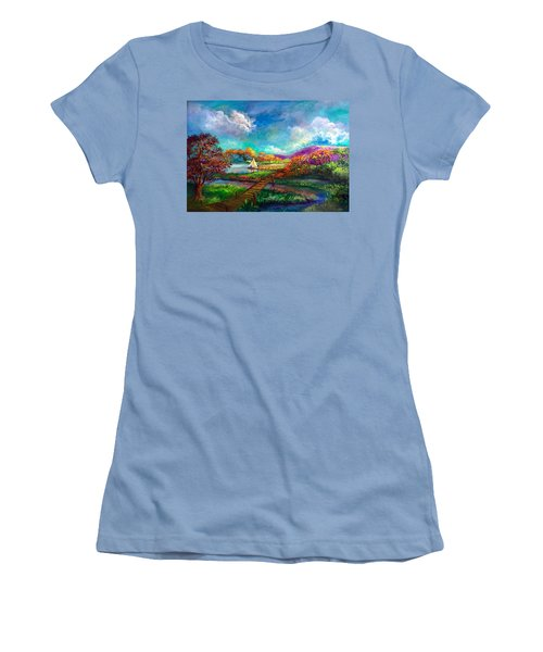 Serenely Sailing  Navegando Serenamente Women's T-Shirt (Athletic Fit)