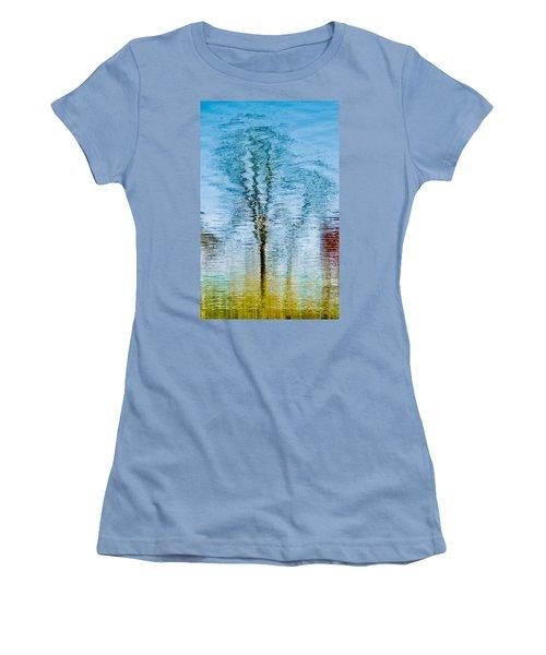 Silver Lake Tree Reflection Women's T-Shirt (Junior Cut) by Michael Bessler