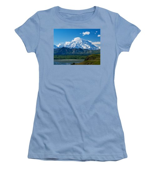 Snow-covered Mount Mckinley, Blue Sky Women's T-Shirt (Athletic Fit)
