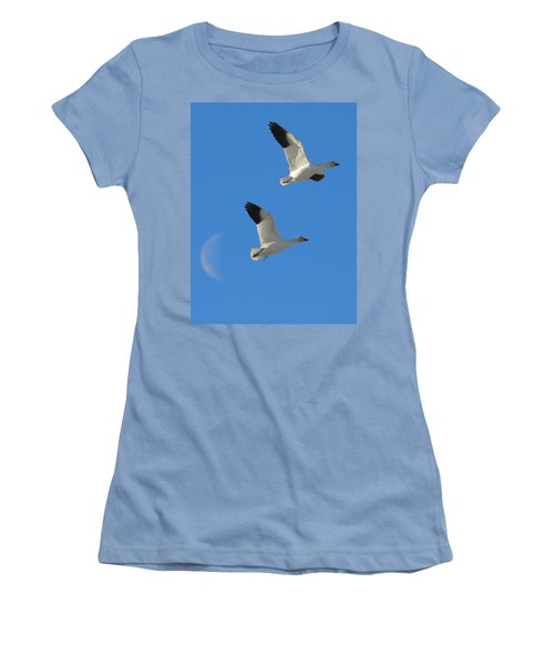 Snow Geese Moon Women's T-Shirt (Athletic Fit)