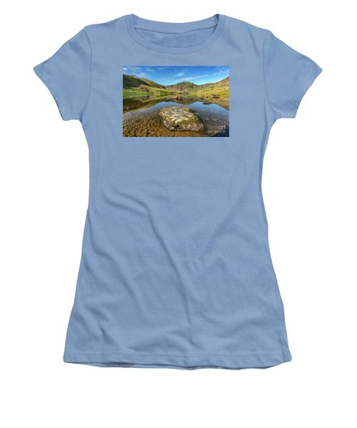 Women's T-Shirt (Junior Cut) featuring the photograph Snowdonia Mountain Reflections by Adrian Evans