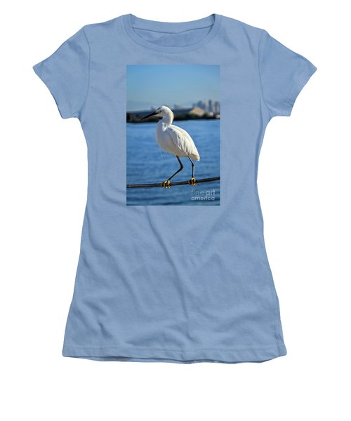 Snowy Egret Portrait Women's T-Shirt (Junior Cut) by Robert Bales