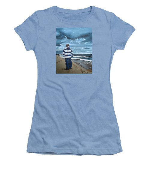 Women's T-Shirt (Junior Cut) featuring the painting Solitude by Donna Blossom