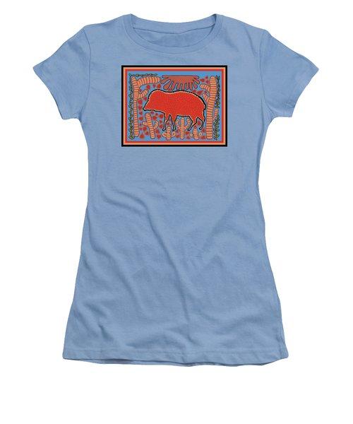 Women's T-Shirt (Athletic Fit) featuring the digital art Southwest Desert Wart Hog by Vagabond Folk Art - Virginia Vivier
