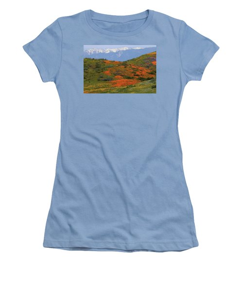 Women's T-Shirt (Junior Cut) featuring the photograph Spring Wildflower Display At Diamond Lake In California by Jetson Nguyen
