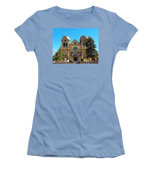 Women's T-Shirt (Junior Cut) featuring the photograph St. Francis Cathedral Santa Fe Nm by Joseph Frank Baraba