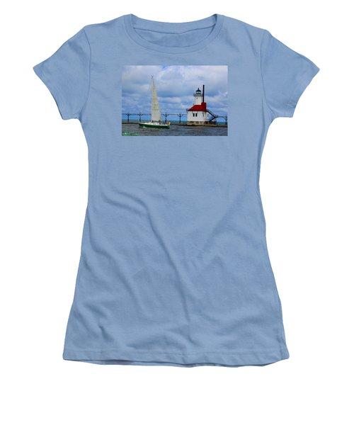 St. Joseph Lighthouse Sailboat Women's T-Shirt (Athletic Fit)