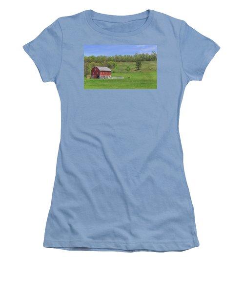 Star And Moon Barn Women's T-Shirt (Junior Cut) by Sharon Batdorf