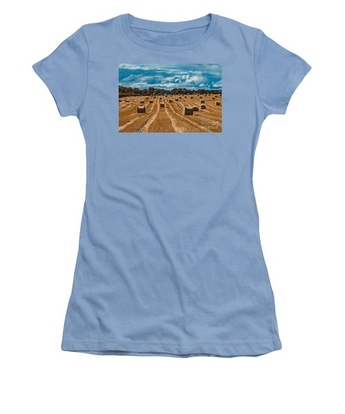 Straw Bales In A Field Women's T-Shirt (Athletic Fit)