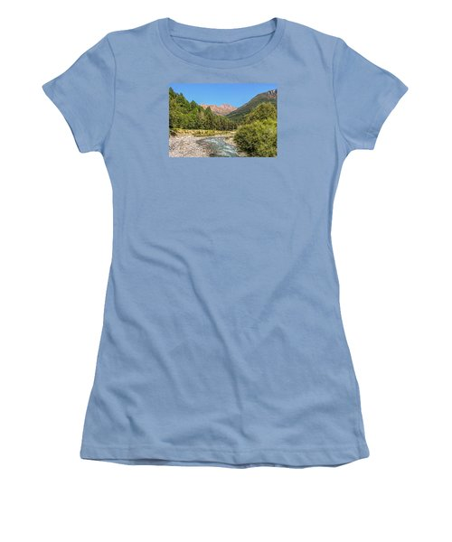 Women's T-Shirt (Junior Cut) featuring the photograph Streaming Through The Alps by Brent Durken