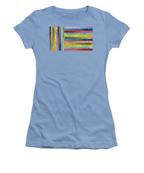 Stripes With Blue And Red Women's T-Shirt (Junior Cut) by Michelle Calkins