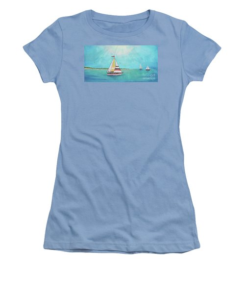 Women's T-Shirt (Junior Cut) featuring the painting Summer Breeze-b by Jean Plout