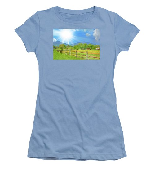 Sunburst Over Peaks Of Otter, Virginia Women's T-Shirt (Athletic Fit)