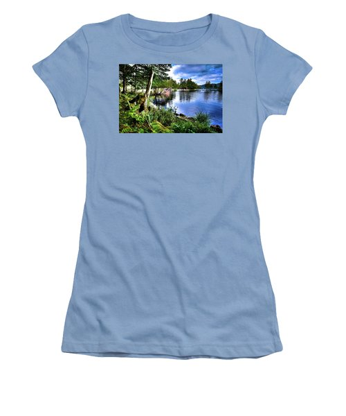 Women's T-Shirt (Athletic Fit) featuring the photograph Sunlit Shore At Covewood by David Patterson