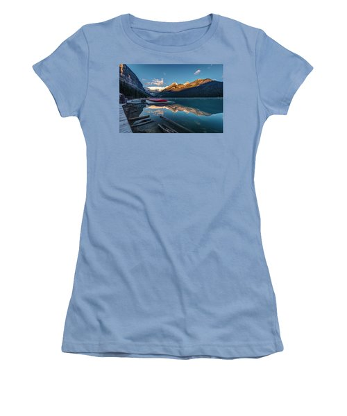 Women's T-Shirt (Junior Cut) featuring the photograph Sunrise At The Canoe Shack Of Lake Louise by Pierre Leclerc Photography