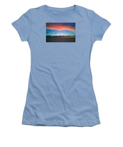 Women's T-Shirt (Junior Cut) featuring the photograph Sunset At Sea by Matthew Bamberg