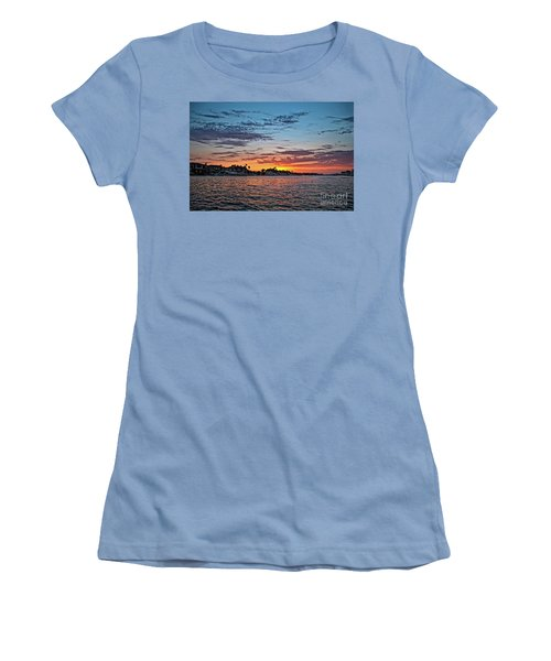 Sunset Over Huntington Harbour Women's T-Shirt (Junior Cut) by Peter Dang
