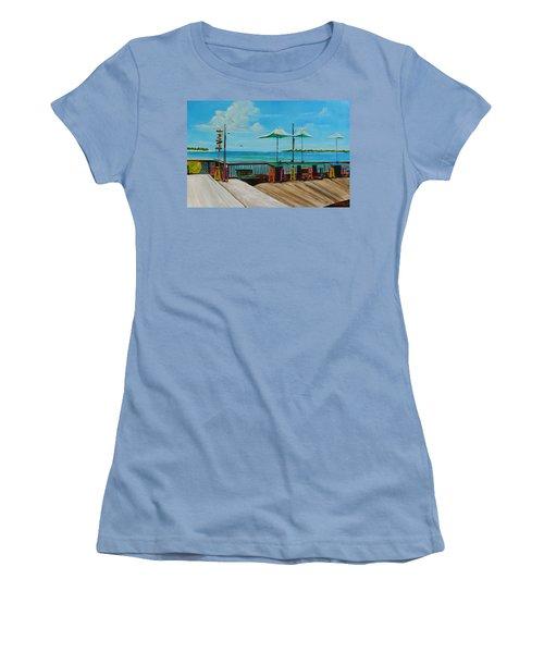Sunset Pier Tiki Bar - Key West Florida Women's T-Shirt (Junior Cut) by Lloyd Dobson