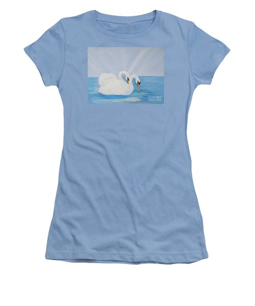 Swans On Open Water Women's T-Shirt (Athletic Fit)