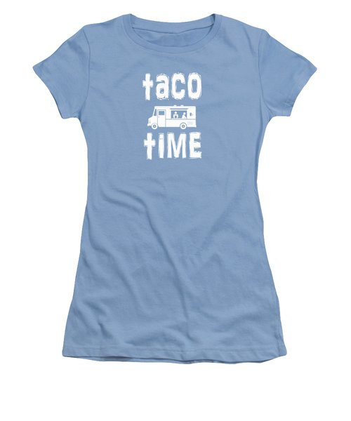Women's T-Shirt (Junior Cut) featuring the drawing Taco Time Food Truck Tee by Edward Fielding