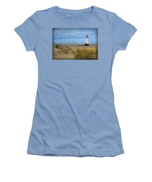 Women's T-Shirt (Junior Cut) featuring the digital art Talacre Lighthouse - Wales by Lianne Schneider