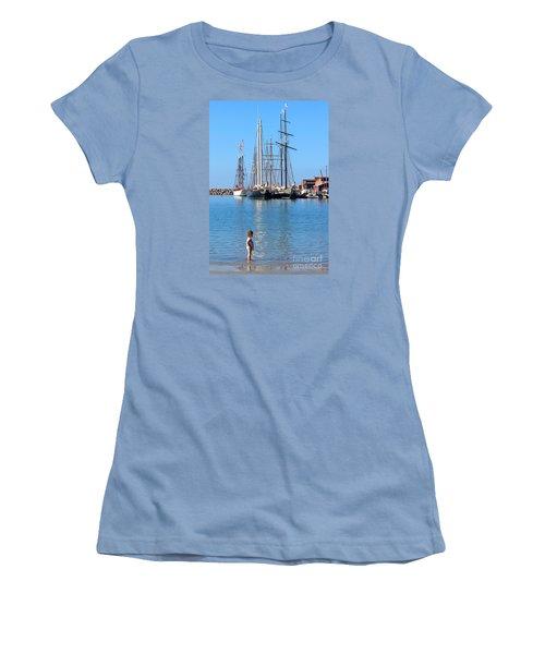 Women's T-Shirt (Junior Cut) featuring the photograph Tall Ship Festival by Cheryl Del Toro