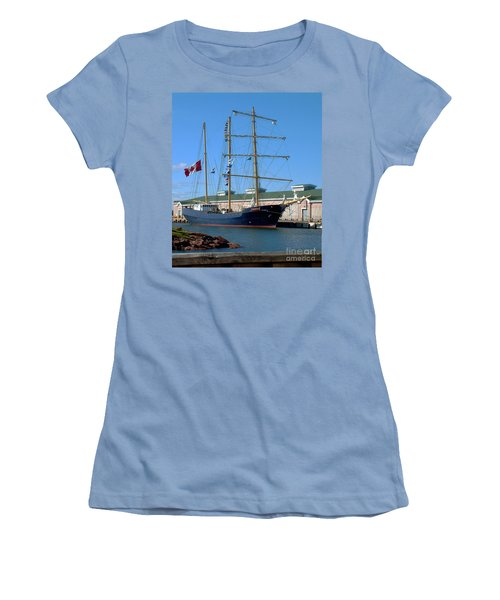 Women's T-Shirt (Junior Cut) featuring the photograph Tall Ship Waiting by RC DeWinter