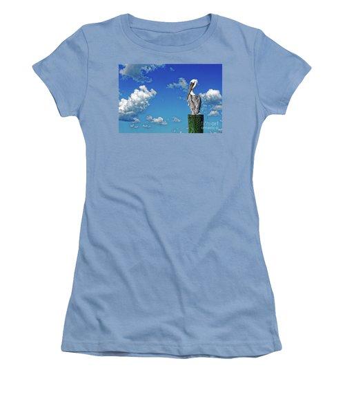 The American Brown Pelican Women's T-Shirt (Junior Cut) by Paul Mashburn