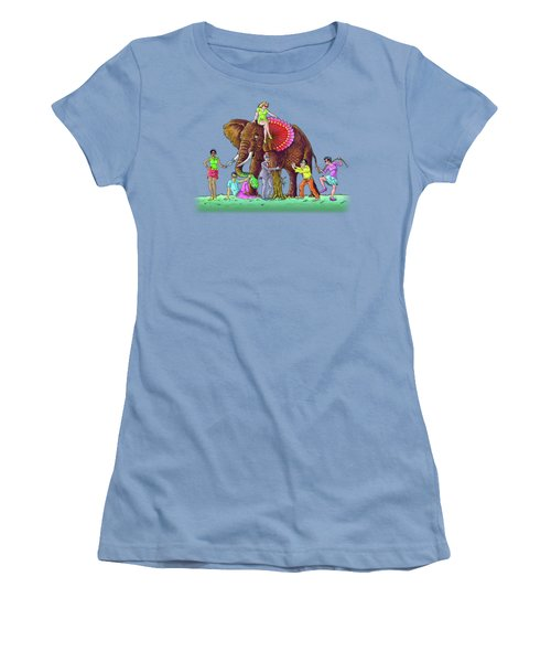 The Blind And The Elephant Women's T-Shirt (Junior Cut) by Anthony Mwangi