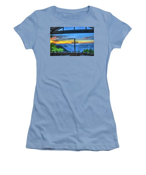 The Cross Sunrise At Pretty Place Chapel Women's T-Shirt (Junior Cut) by Reid Callaway
