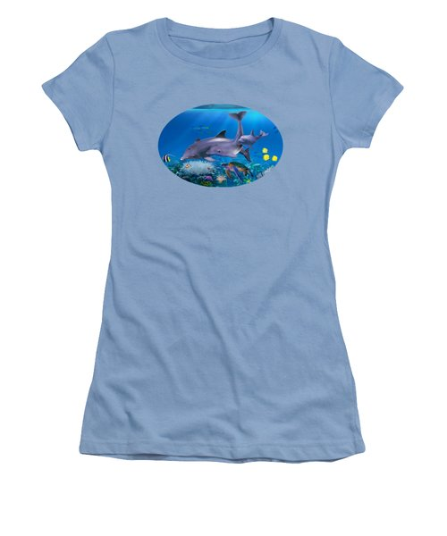 The Dolphin Family Women's T-Shirt (Junior Cut) by Glenn Holbrook