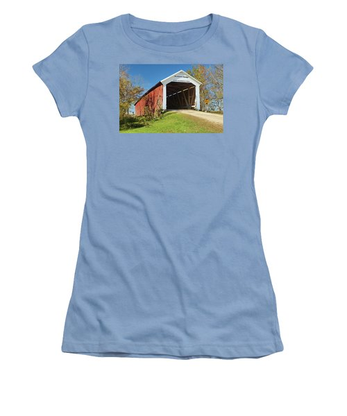 Women's T-Shirt (Junior Cut) featuring the photograph The Mcallister Covered Bridge by Harold Rau