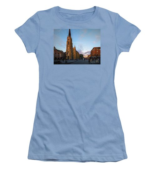 Women's T-Shirt (Junior Cut) featuring the photograph The Name Of Mary Church At Dusk Novi Sad by Jivko Nakev