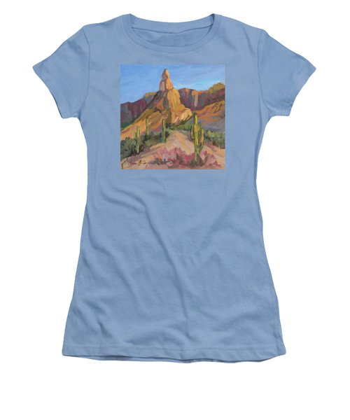 Women's T-Shirt (Junior Cut) featuring the painting The Pinnacle At Goldfield Mountains by Diane McClary